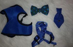 Blue Baby Doggie Set Vest Bow Tie Sz XS